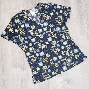 SB Scrubs Small Black Floral Positive Vibes Top